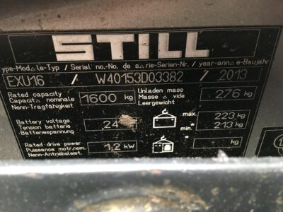 Still EXU16 elektrische palletwagen